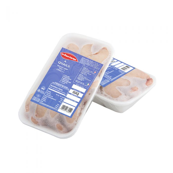 Crown Farms Skinless Quails 4 Birds Per Tray Pack 400g