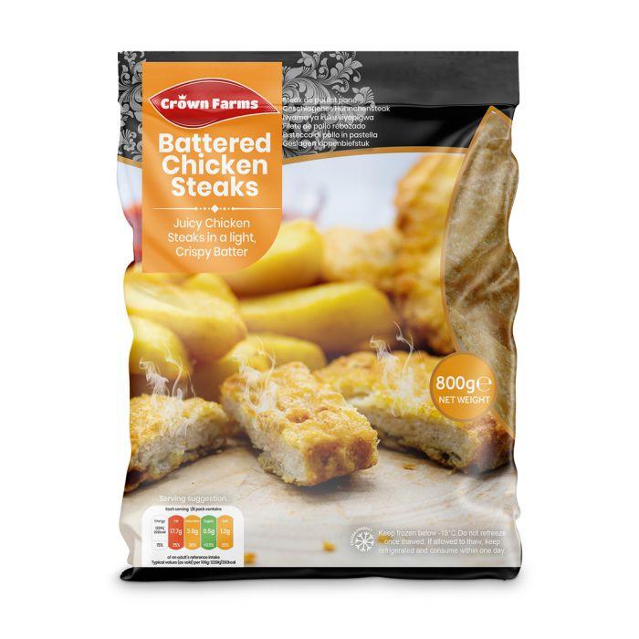 Crown Farms Battered Chicken Steak 800g