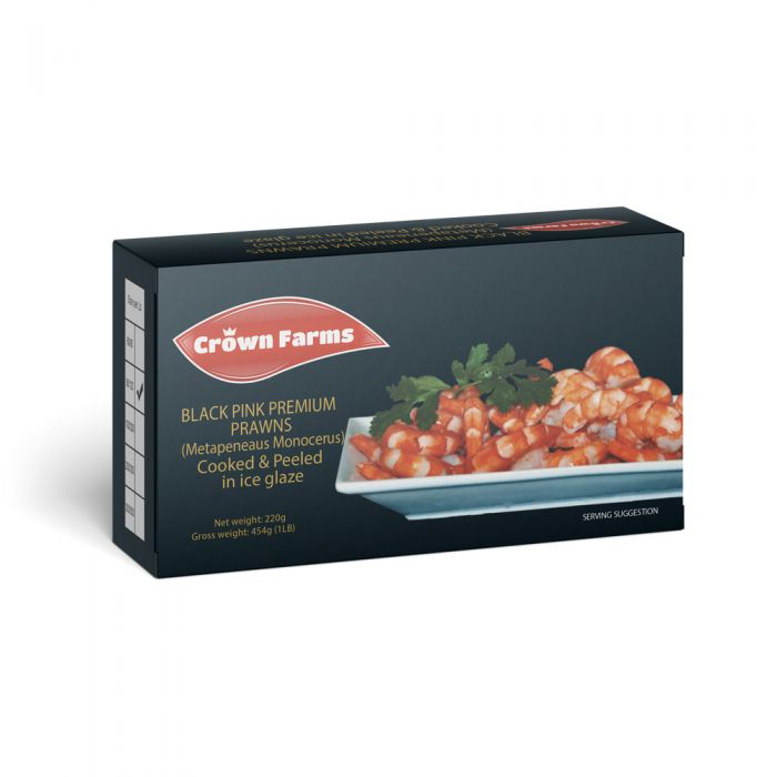 Crown Farms Prawns Cooked And Peeled Block 90-120 220g